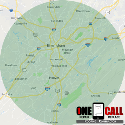 roofing services location map for One Call Roofing, LLC